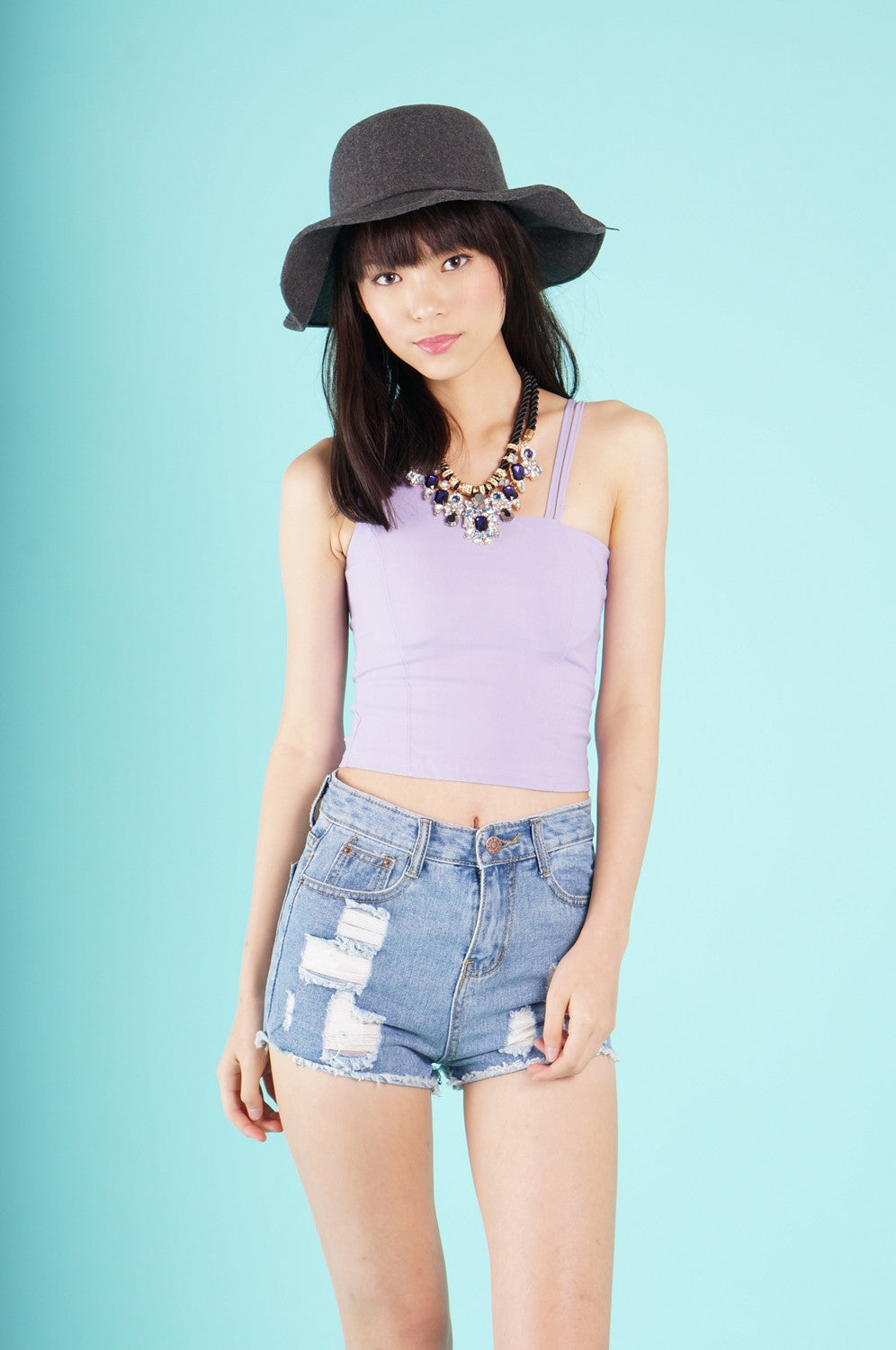 KALEA CROPPED TOP IN LILAC