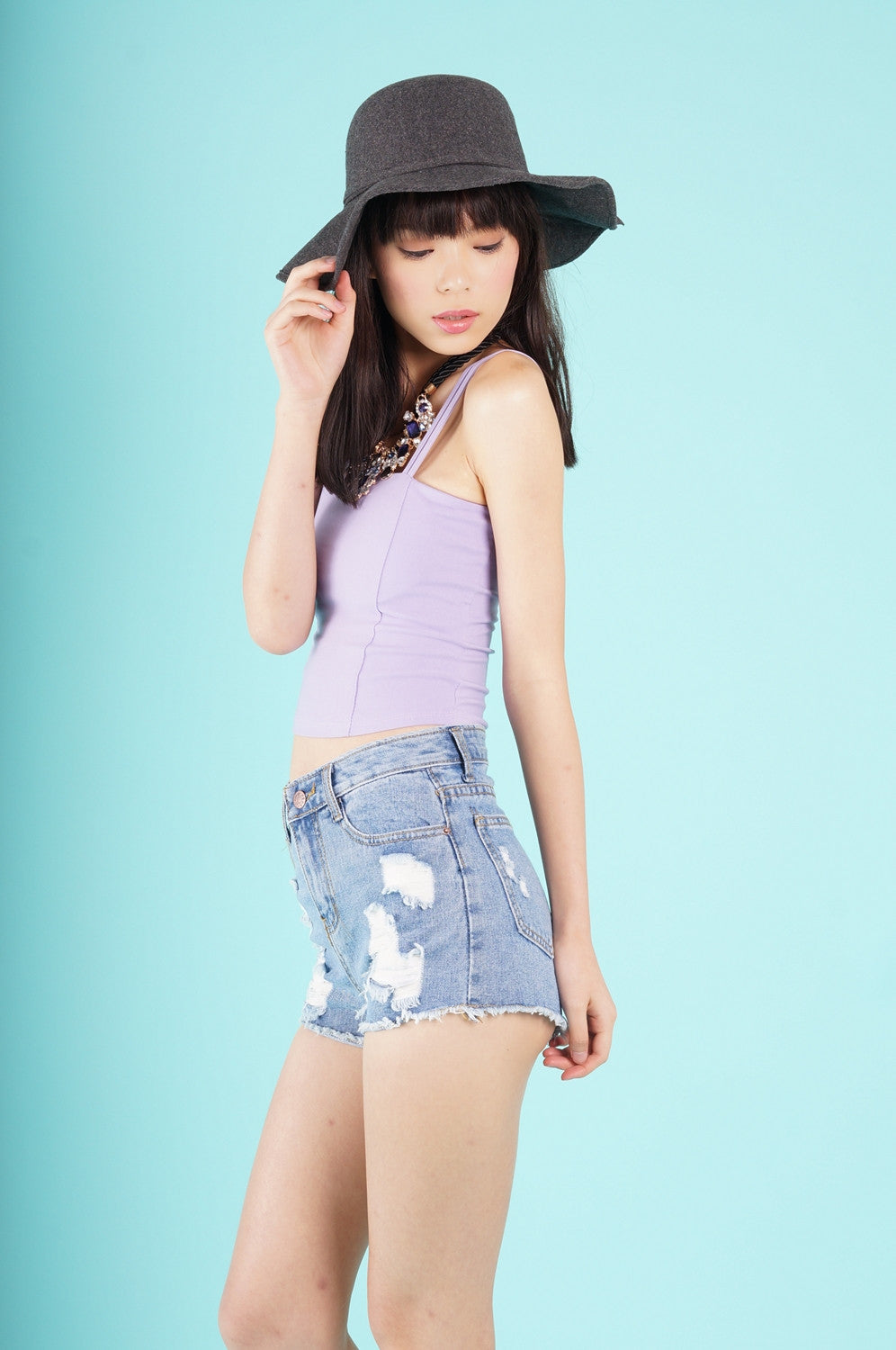 KALEA CROPPED TOP IN LILAC - TOPAZETTE