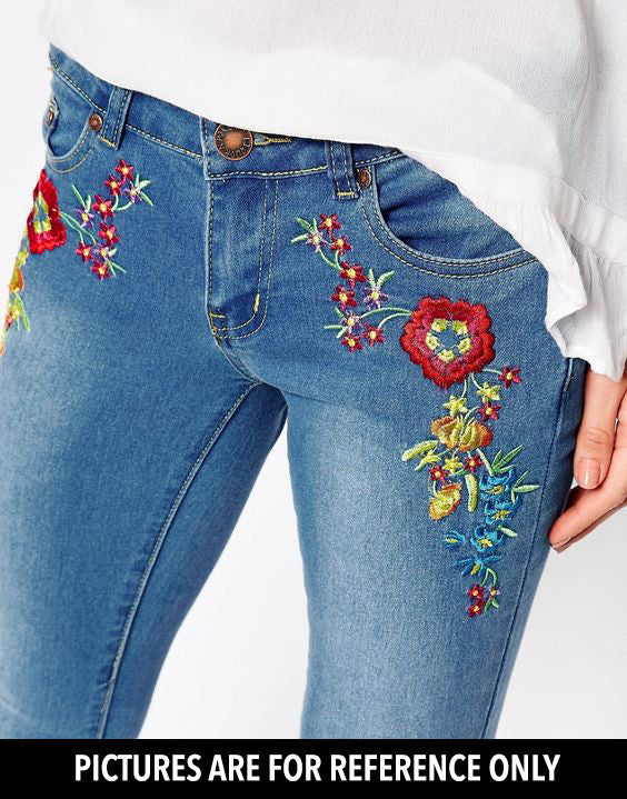 IRIS FLORAL EMBROIDERY IRON ON PATCH - TOPAZETTE
