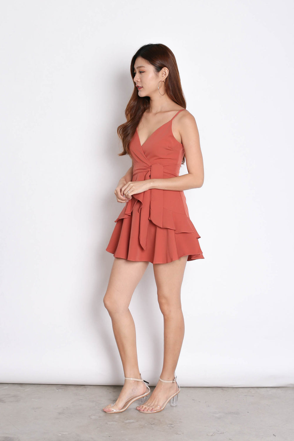 *TPZ* (PREMIUM) SAGE RUFFLES DRESS ROMPER IN CORAL