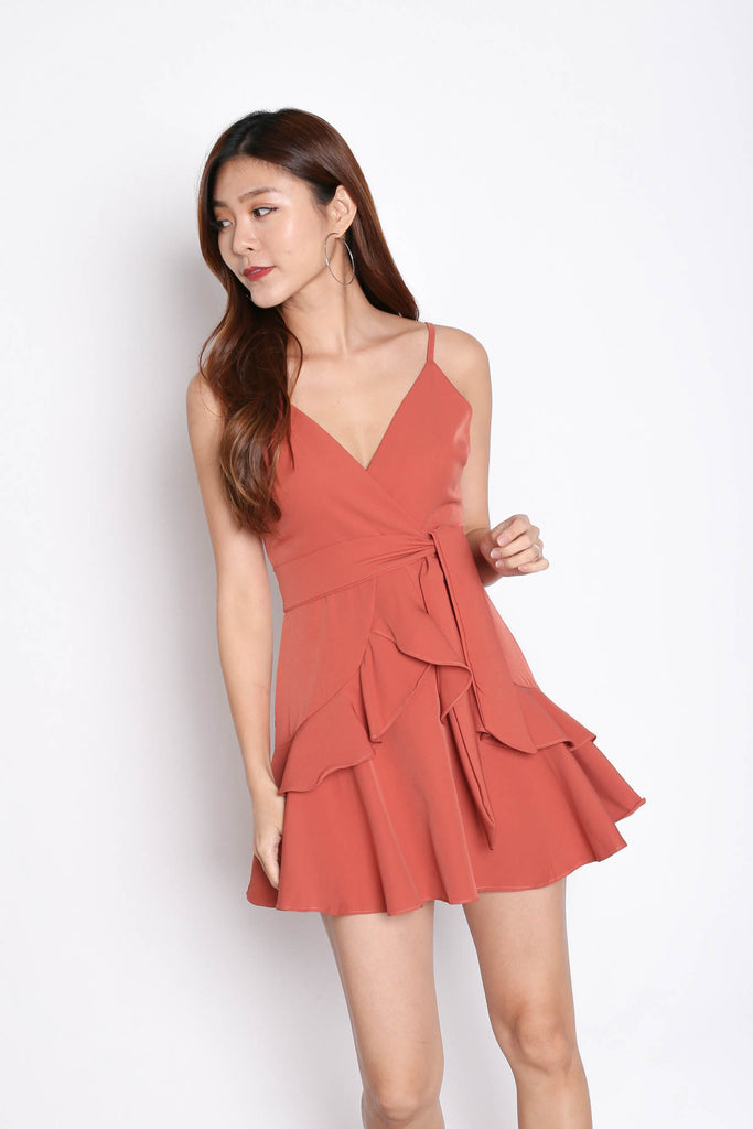 *TPZ* (PREMIUM) SAGE RUFFLES DRESS ROMPER IN CORAL - TOPAZETTE