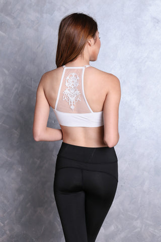 SEAMLESS MESH BACK EMBROIDERY BRA IN WHITE