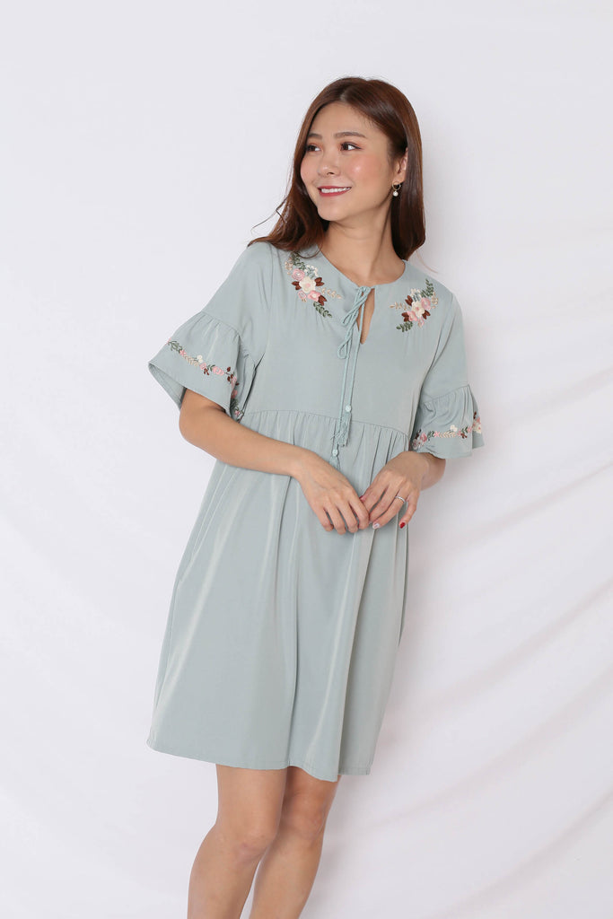 (PREMIUM) GYPSY EMBROIDERY TASSEL DRESS IN MINT - TOPAZETTE