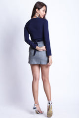 PLAIDS TIE WAIST SKORTS IN GREY