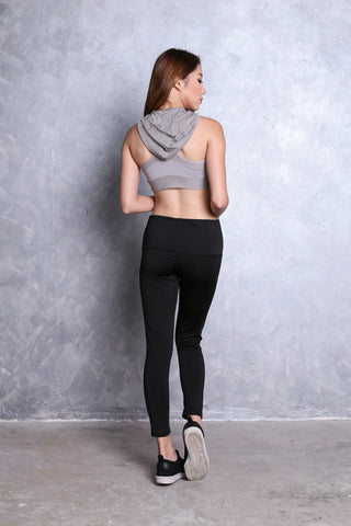 HOODIE SPORTS BRA IN GREY