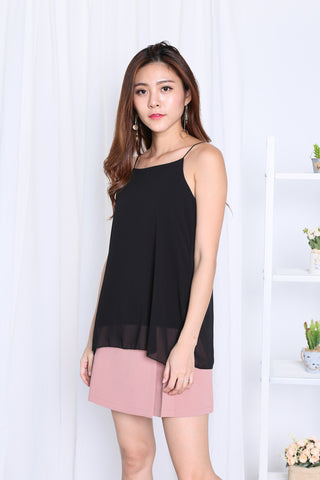 AUDREY SLIT SPAG TOP IN BLACK