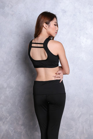 KALLIE NETTED SPORTS BRA IN BLACK