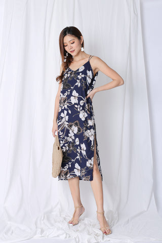 VELLIZ FLORAL SLIP ON DRESS IN NAVY