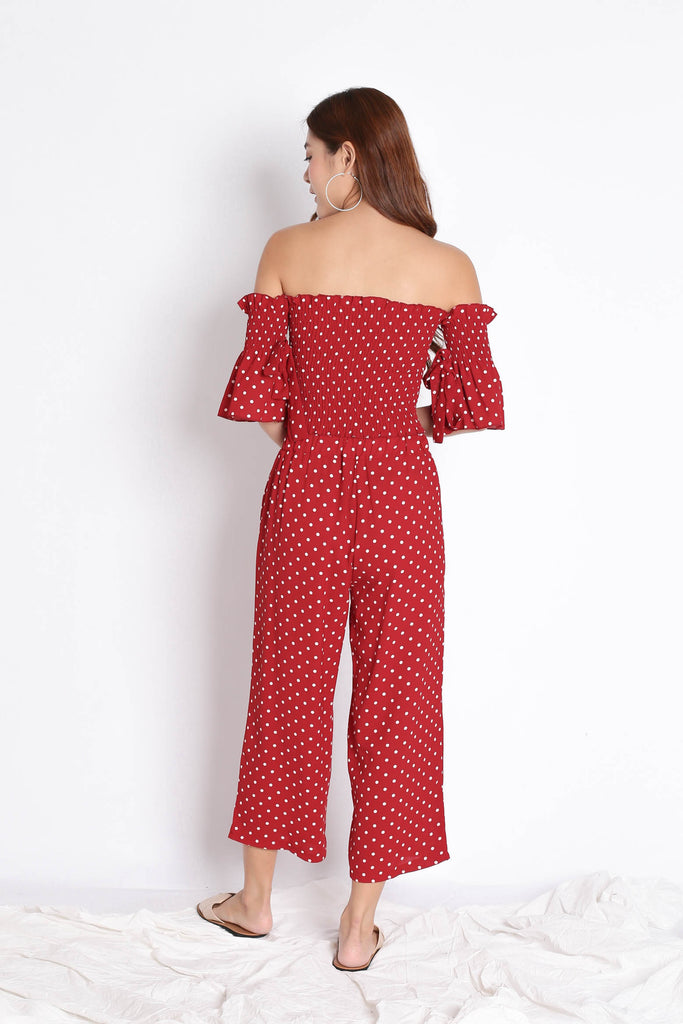 POLKA DOT TOP AND CULOTTES SET IN WINE - TOPAZETTE