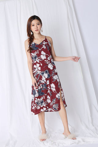 VELLIZ FLORAL SLIP ON DRESS IN BURGUNDY