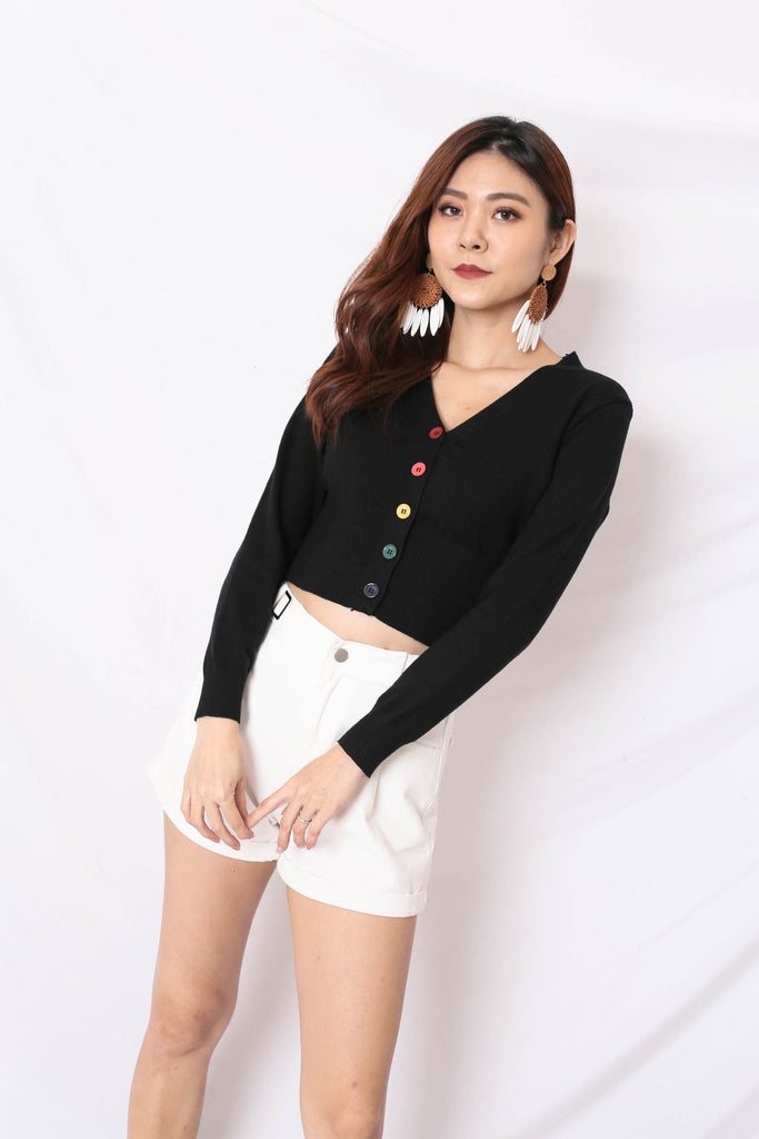 PARADE OF HAPPINESS CARDIGAN IN BLACK
