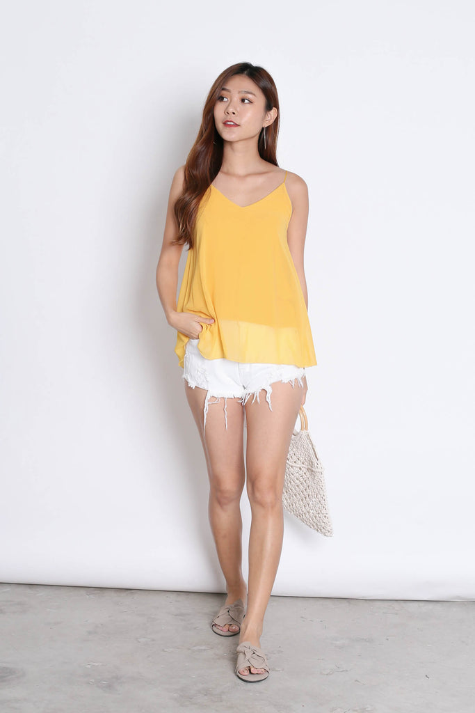 CRISS CROSS SPAG TOP IN SUNSHINE