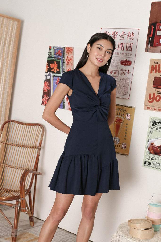 *TPZ* RITA TWIST FRONT DRESS IN NAVY