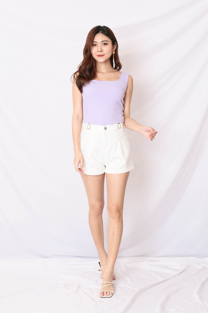 (PREMIUM) ILLY RIBBED SQUARE NECK TOP IN LILAC