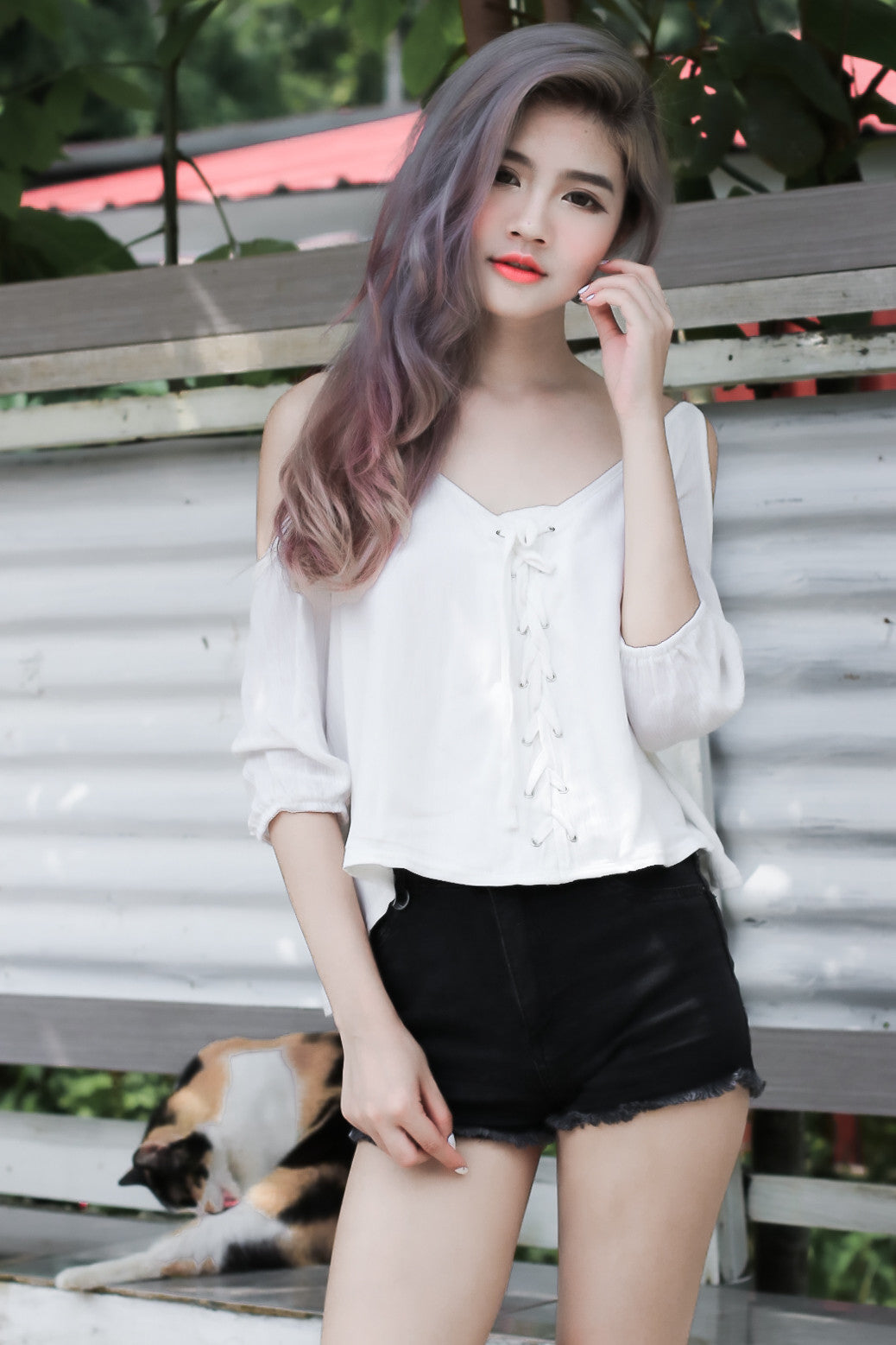 d937bb847fb76 (RESTOCKED)  MADEBYTPZ SHOELACE COLD SHOULDER TOP IN WHITE - TOPAZETTE