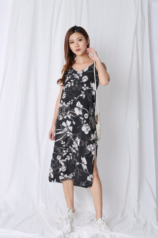 VELLIZ FLORAL SLIP ON DRESS IN BLACK