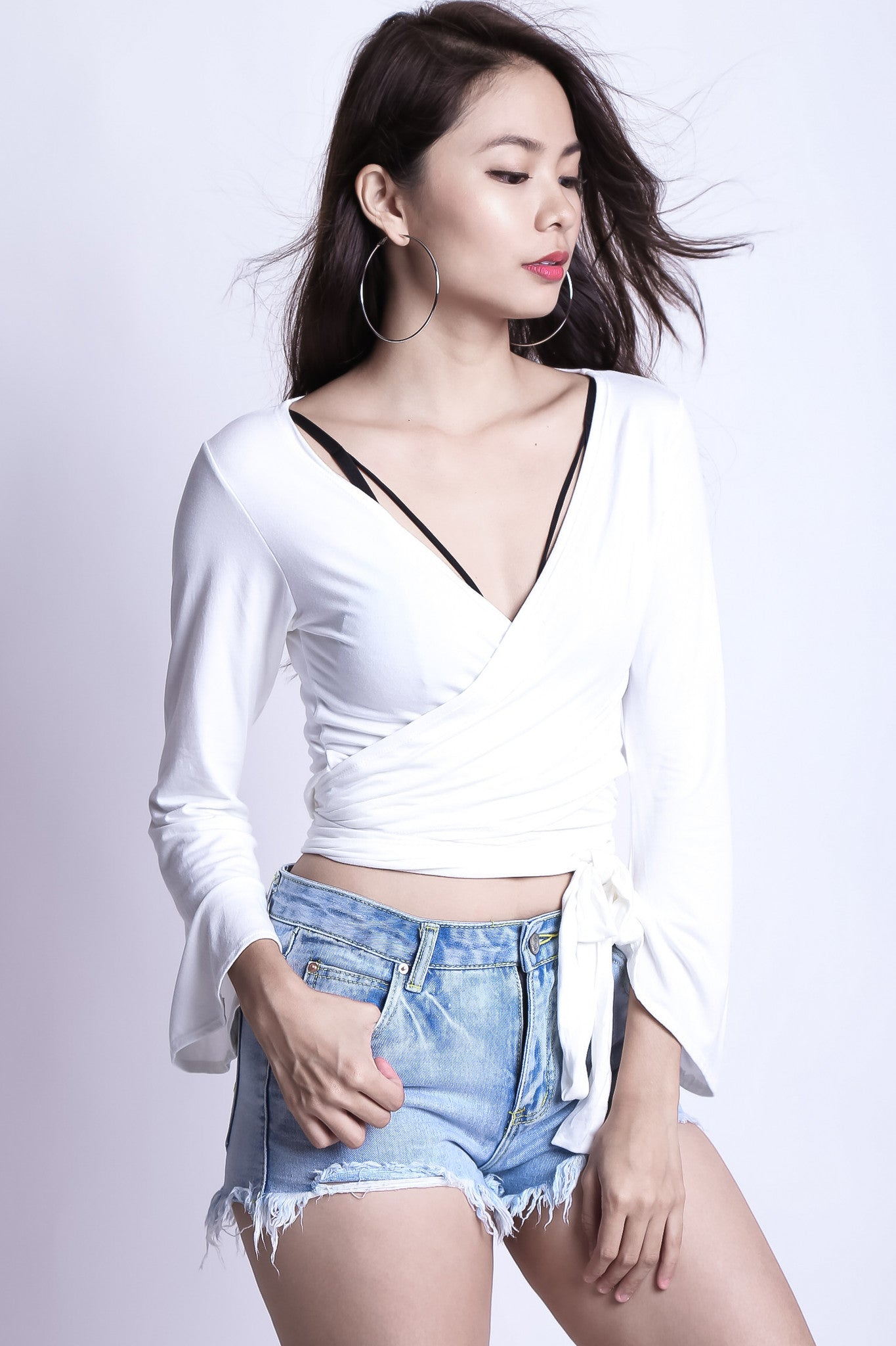 *BACKORDER* WRAP AROUND BELL SLEEVES TOP IN WHITE - TOPAZETTE