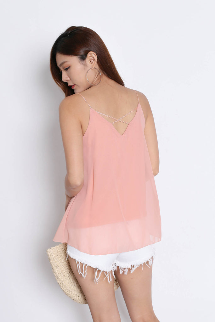 CRISS CROSS SPAG TOP IN DUSTY PINK