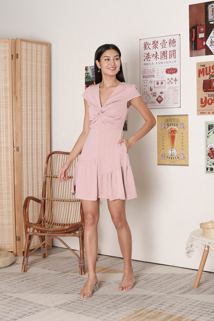 *TPZ* RITA TWIST FRONT DRESS IN DUSTY PINK