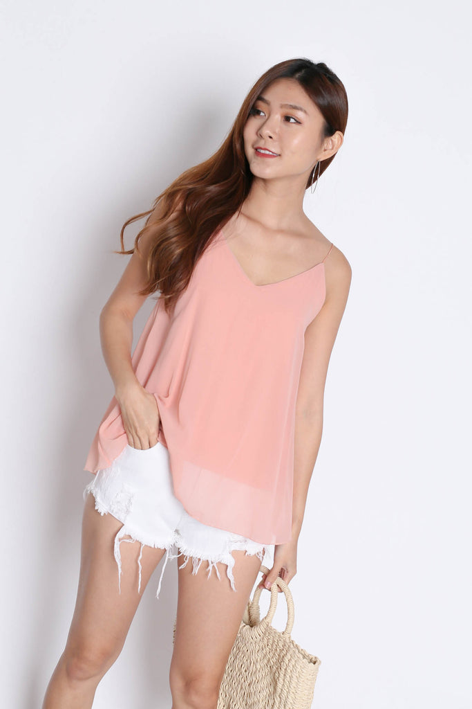 CRISS CROSS SPAG TOP IN DUSTY PINK - TOPAZETTE