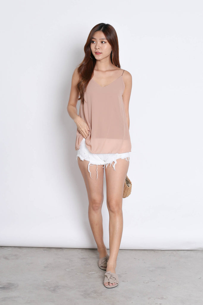 CRISS CROSS SPAG TOP IN NUDE - TOPAZETTE