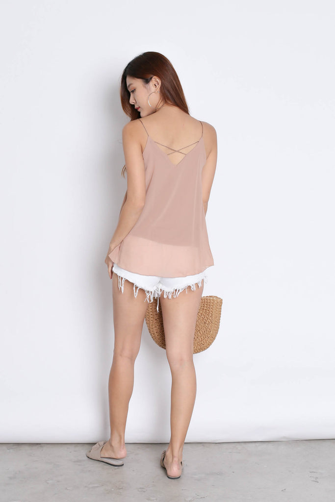 CRISS CROSS SPAG TOP IN NUDE