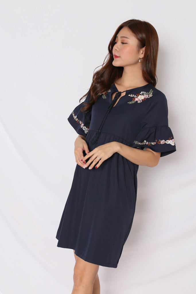 (PREMIUM) GYPSY EMBROIDERY TASSEL DRESS IN NAVY - TOPAZETTE