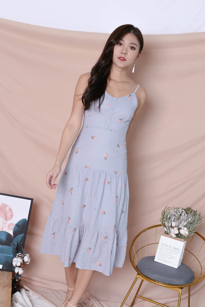 *TPZ* (PREMIUM) DAELYN EYELET EMBROIDERY DRESS IN DUSTY BLUE - TOPAZETTE