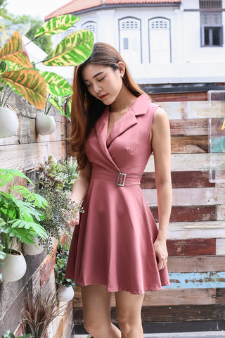 *TOPAZ* (PREMIUM) WIN TUXEDO SKATER DRESS IN DUSTY CORAL