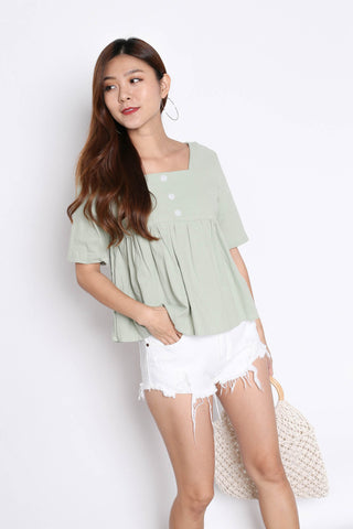 780c8b118886 LINEN BABYDOLL BUTTON TOP IN MINT