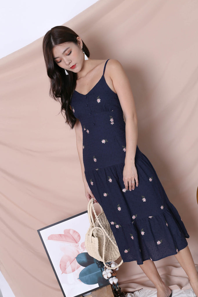 *TPZ* (PREMIUM) DAELYN EYELET EMBROIDERY DRESS IN NAVY - TOPAZETTE