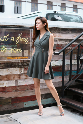 *TOPAZ* (PREMIUM) WIN TUXEDO SKATER DRESS IN GREYISH GREEN