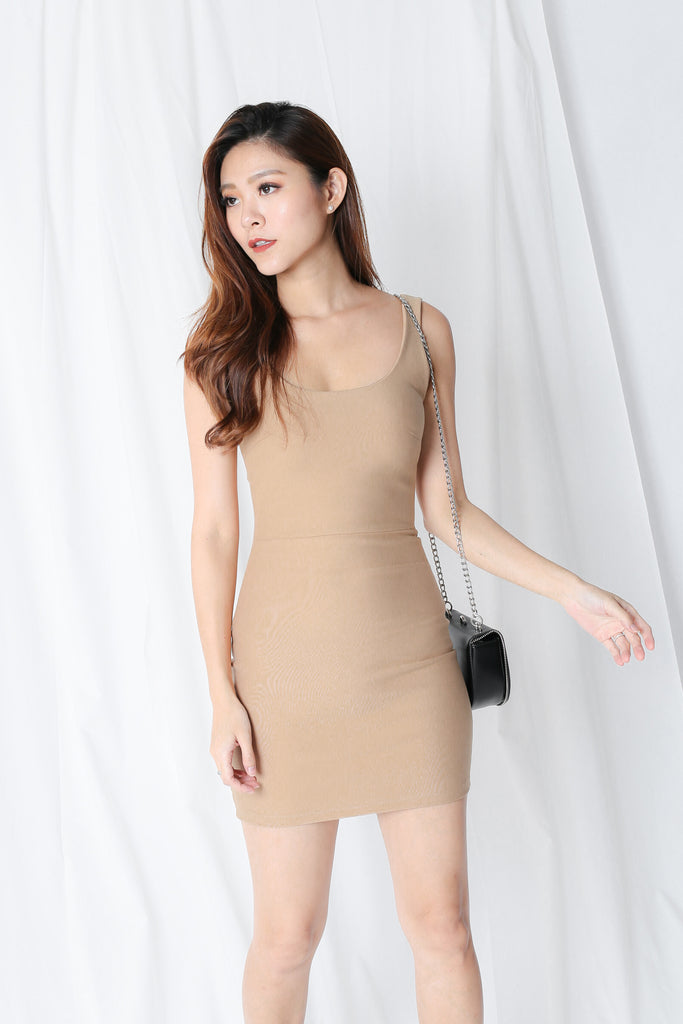 U BACK CLASSIC BODYCON DRESS IN TAUPE - TOPAZETTE