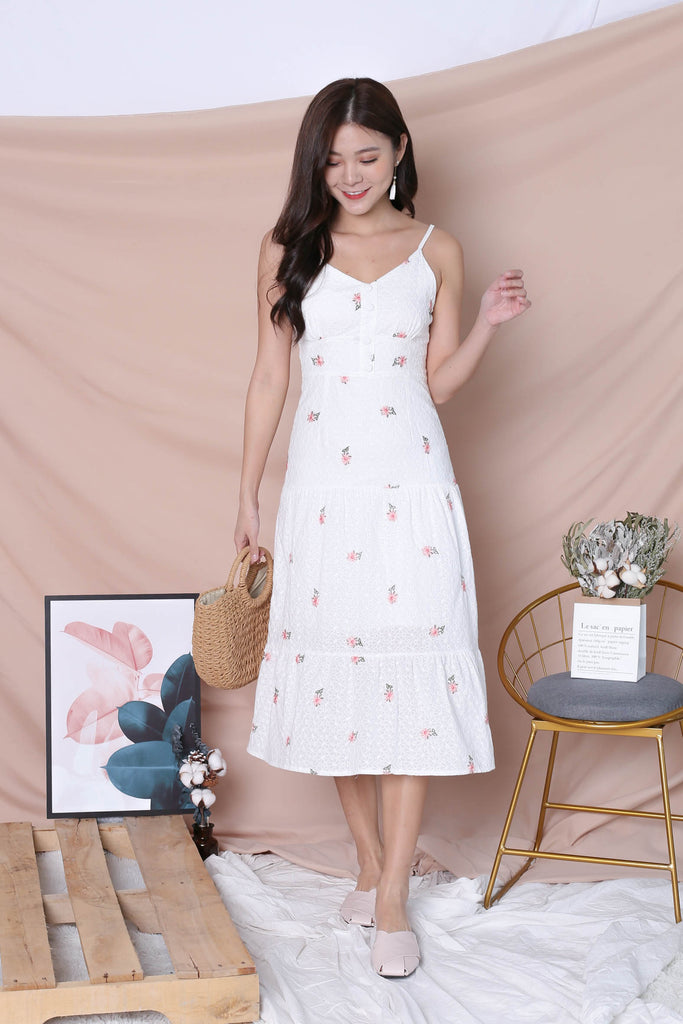 *TPZ* (PREMIUM) DAELYN EYELET EMBROIDERY DRESS IN WHITE - TOPAZETTE