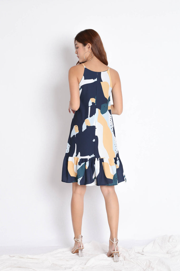 *TPZ* (PREMIUM) TARA ABSTRACT DROP WAIST DRESS IN NAVY - TOPAZETTE