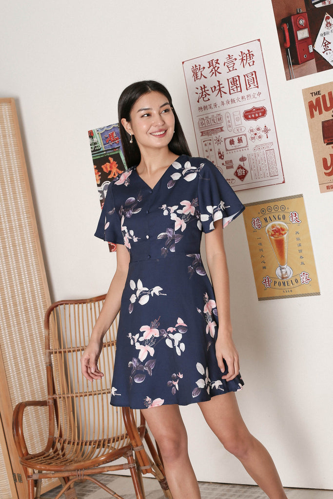 *TPZ* ORELLA FLORAL FLUTTER SLEEVES DRESS IN NAVY