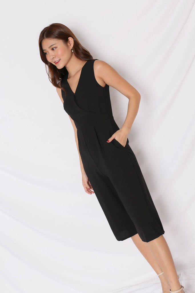 *TPZ* (PREMIUM) KAS FRONT BUTTON CULOTTES JUMPSUIT IN BLACK - TOPAZETTE