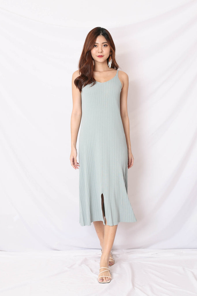 LEICA KNIT DRESS IN MINT GREY