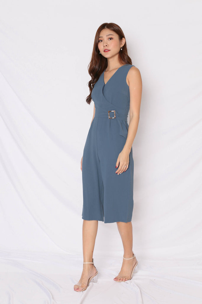 *TPZ* (PREMIUM) KAS FRONT BUTTON CULOTTES JUMPSUIT IN BLUE - TOPAZETTE