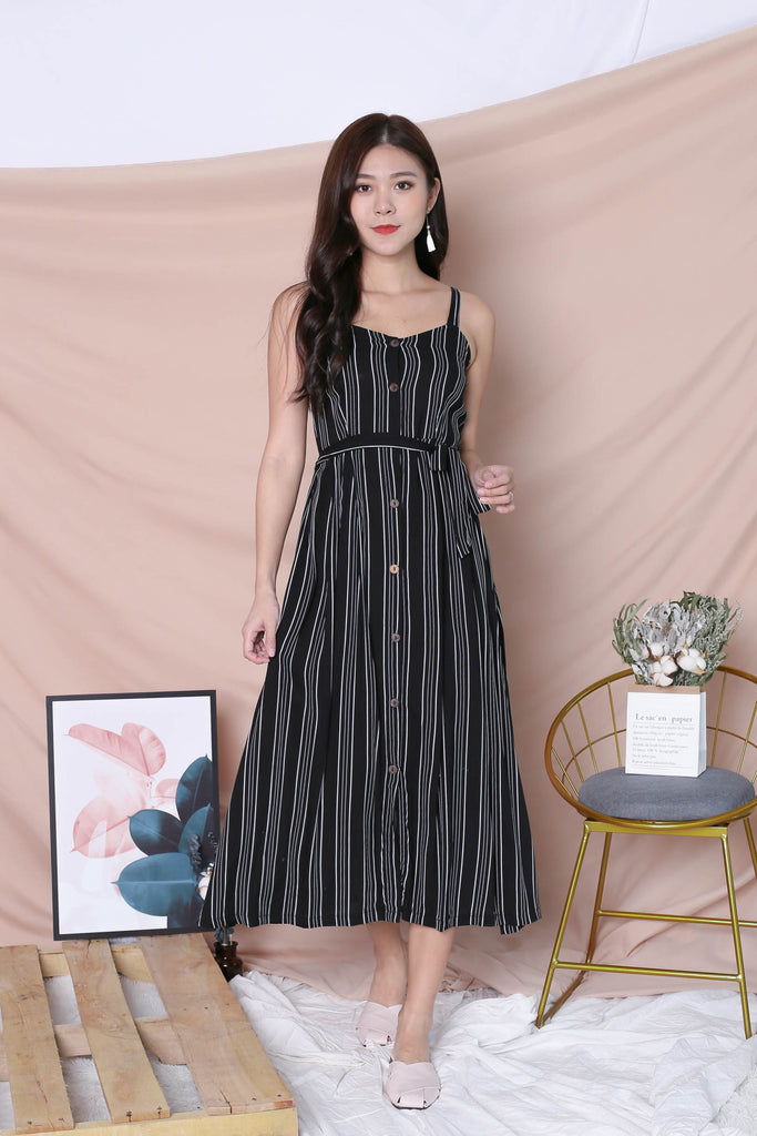 JAVEN BUTTONED DOWN DRESS IN BLACK STRIPES