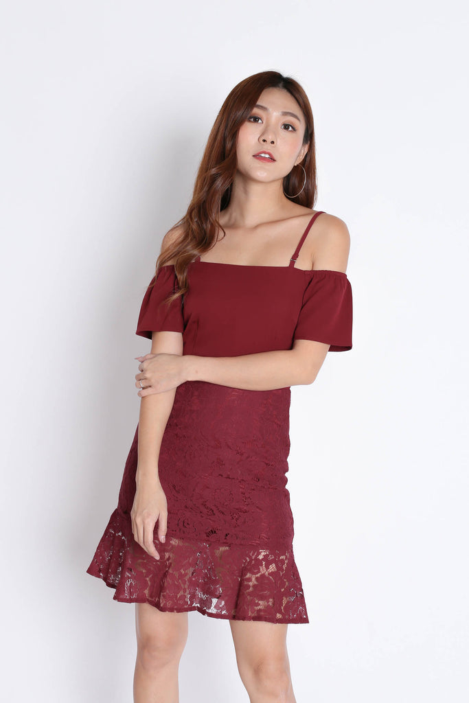 *TPZ* (PREMIUM) YVETTA LACE DRESS IN WINE