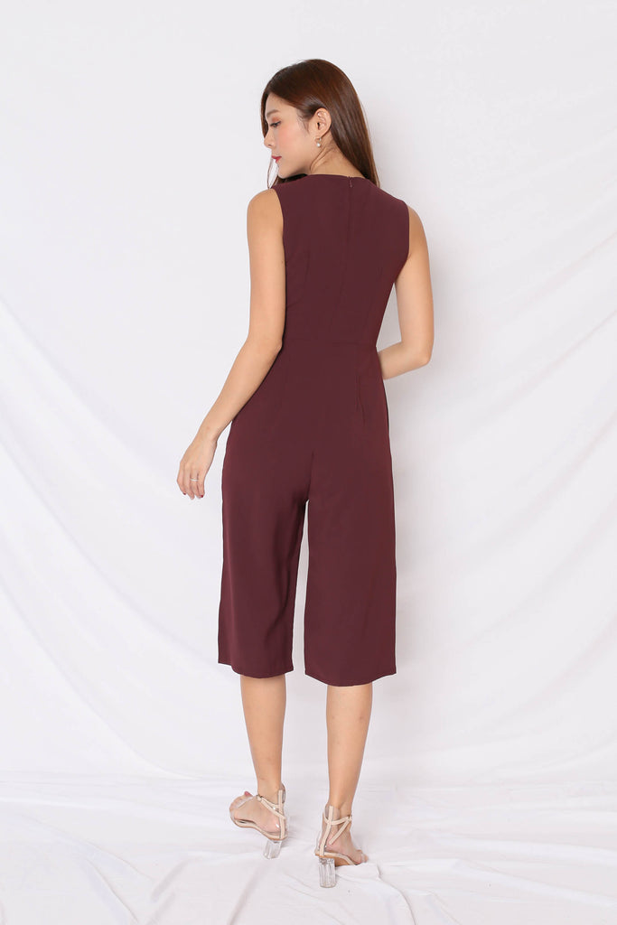 *TPZ* (PREMIUM) KAS FRONT BUTTON CULOTTES JUMPSUIT IN PLUM - TOPAZETTE