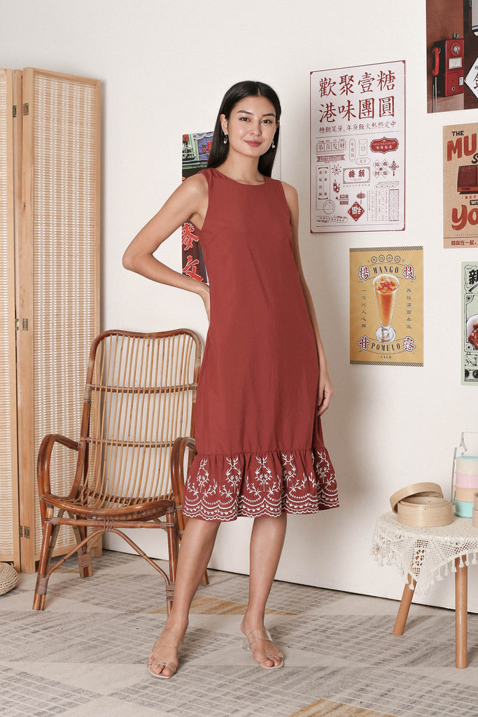 *PREMIUM* LOIS EMBROIDERY DRESS IN DUSTY CORAL