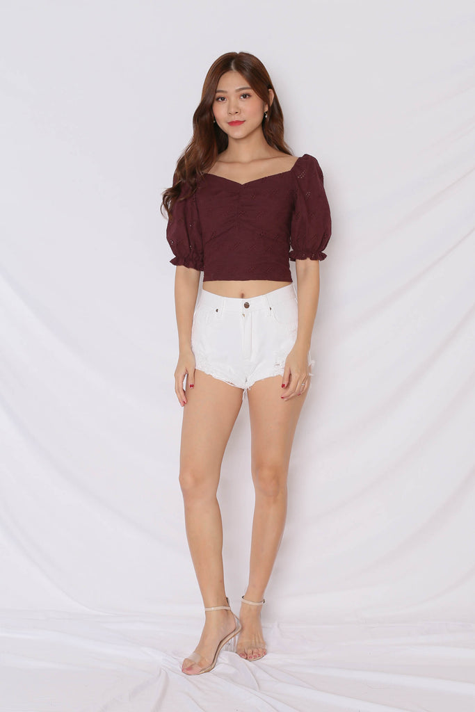 *TPZ* (PREMIUM) PIXIE EYELET TOP IN PLUM