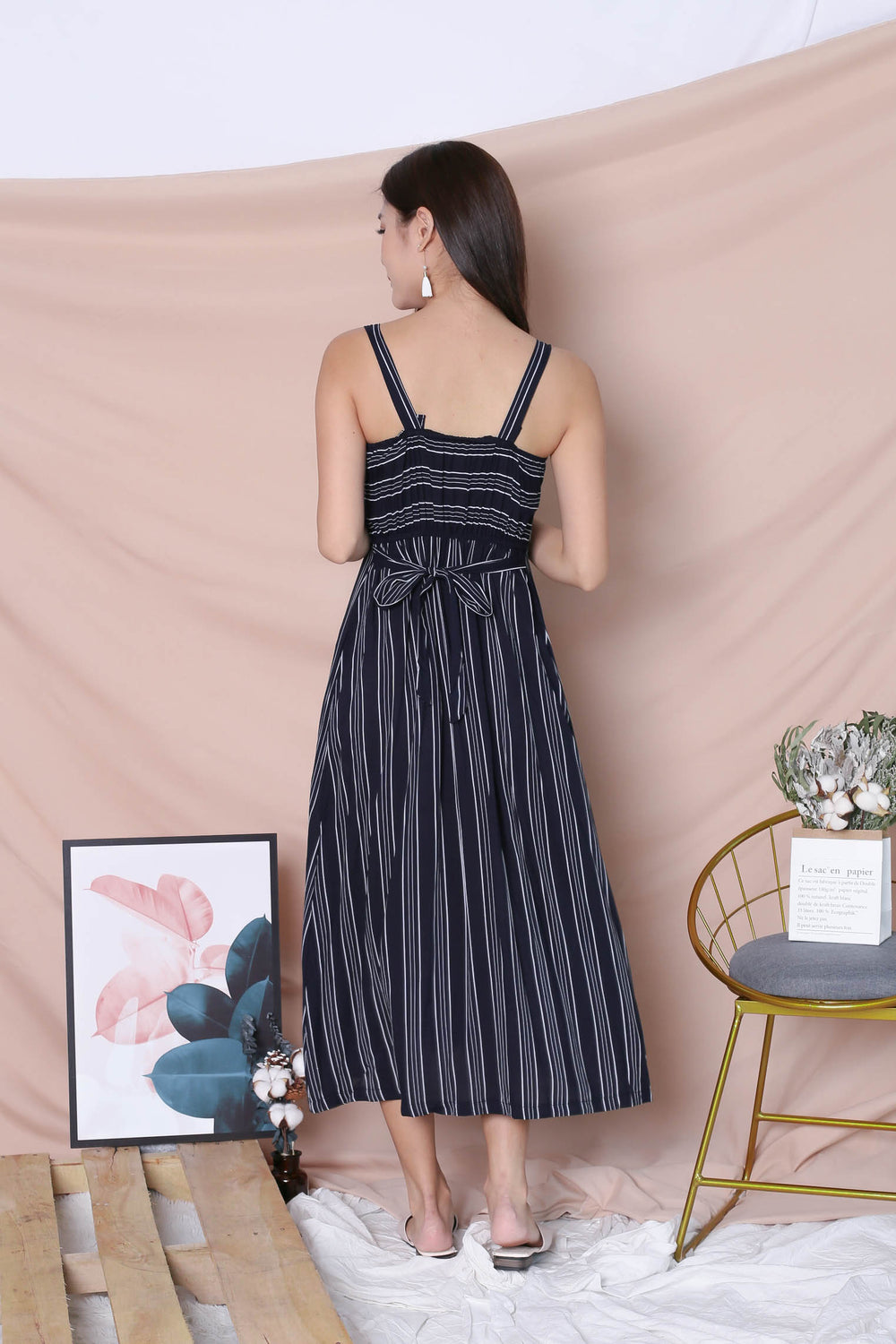 JAVEN BUTTONED DOWN DRESS IN NAVY STRIPES