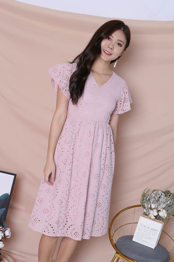 *TPZ* (PREMIUM) FAYE EYELET DRESS IN DUSTY PINK