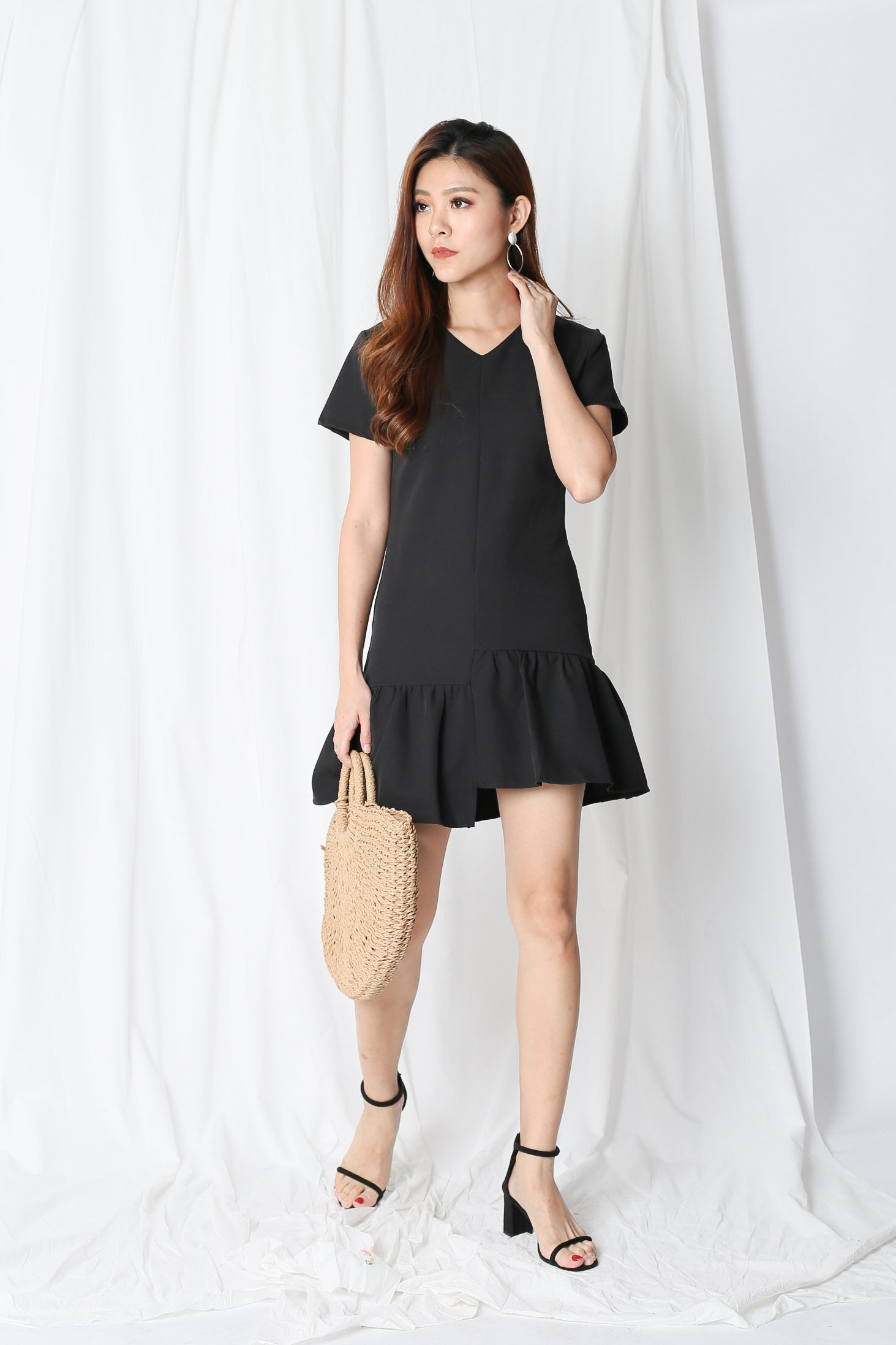 *TPZ* (PREMIUM) ADELE HI LOW DRESS IN BLACK