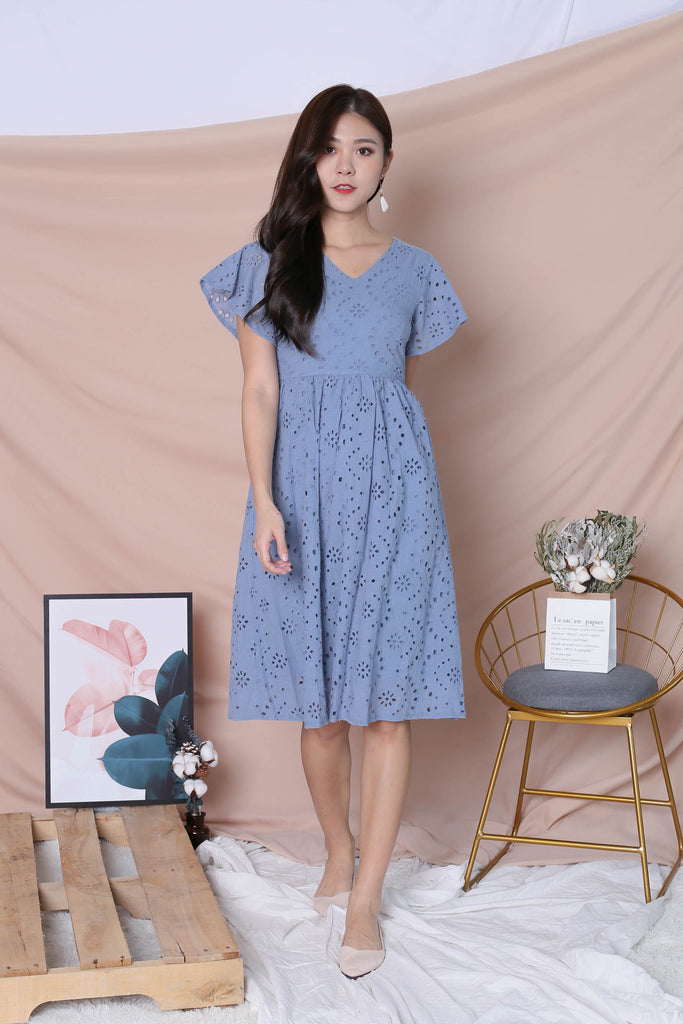 *TPZ* (PREMIUM) FAYE EYELET DRESS IN STALE BLUE - TOPAZETTE