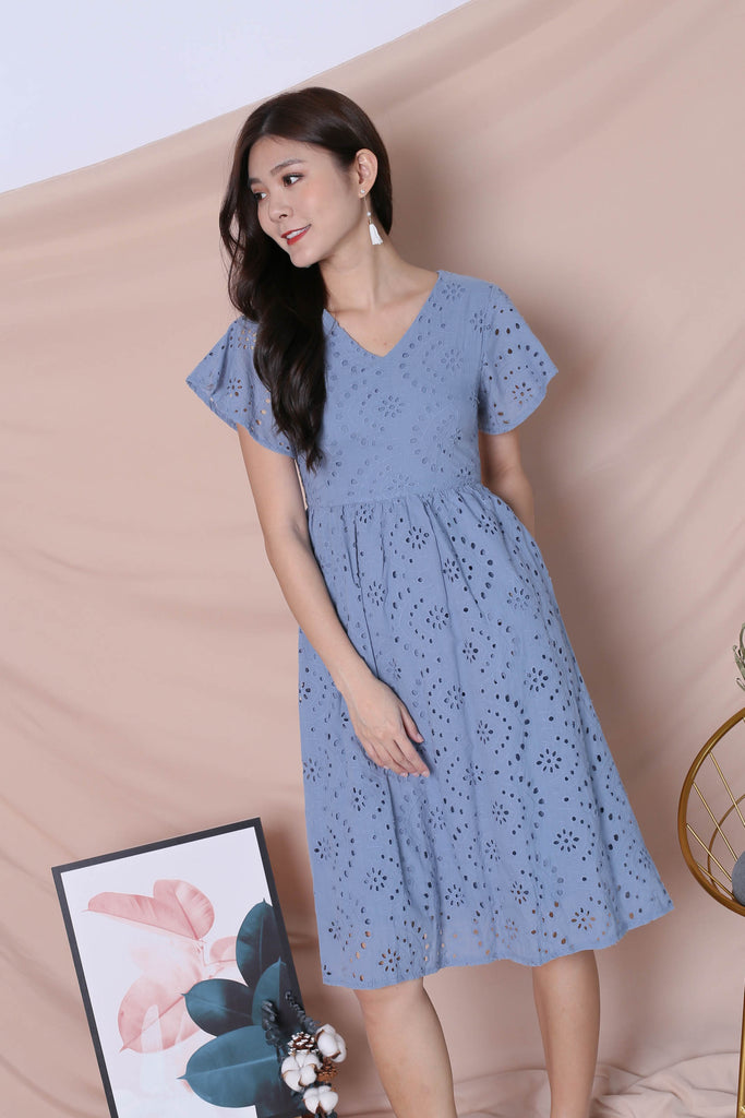*TPZ* (PREMIUM) FAYE EYELET DRESS IN STALE BLUE