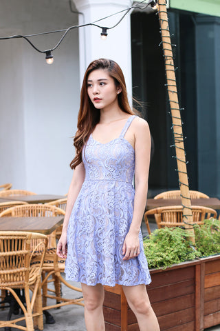 *TOPAZ* (PREMIUM) XENIA LACE DRESS IN PERIWINKLE